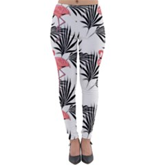 Pink Flamingos Palmetto Fronds Tropical Pattern Lightweight Velour Leggings