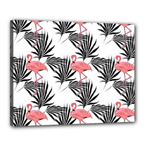 Pink Flamingos Palmetto Fronds Tropical Pattern Canvas 20  X 16  by CrypticFragmentsColors