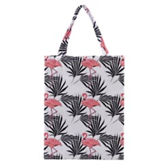 Pink Flamingos Palmetto Fronds Tropical Pattern Classic Tote Bag by CrypticFragmentsColors