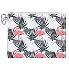 Pink Flamingos Palmetto Fronds Tropical Pattern Canvas Cosmetic Bag (xxl) by CrypticFragmentsColors