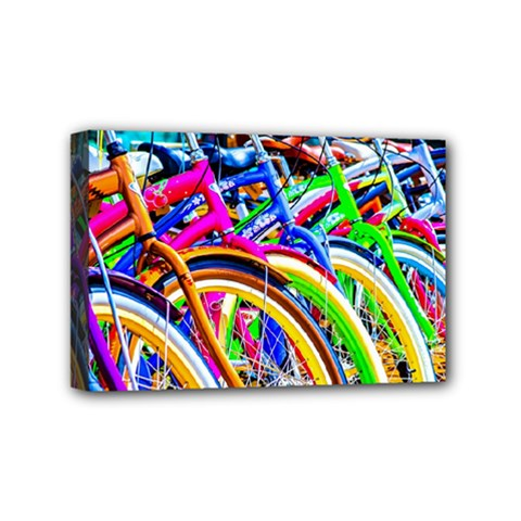 Colorful Bicycles In A Row Mini Canvas 6  X 4  by FunnyCow