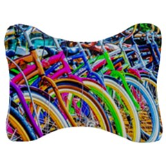Colorful Bicycles In A Row Velour Seat Head Rest Cushion by FunnyCow
