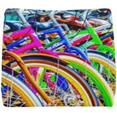 Colorful Bicycles In A Row Seat Cushion by FunnyCow