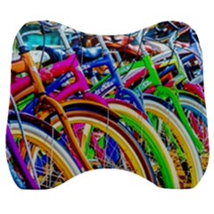 Colorful Bicycles In A Row Velour Head Support Cushion by FunnyCow
