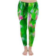 Green Birch Leaves, Pink Flowers Classic Winter Leggings by FunnyCow