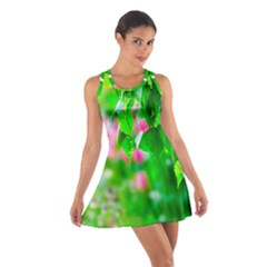 Green Birch Leaves, Pink Flowers Cotton Racerback Dress by FunnyCow