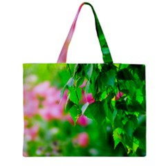 Green Birch Leaves, Pink Flowers Medium Tote Bag by FunnyCow