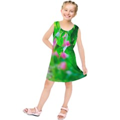 Green Birch Leaves, Pink Flowers Kids  Tunic Dress by FunnyCow