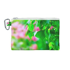 Green Birch Leaves, Pink Flowers Canvas Cosmetic Bag (medium)
