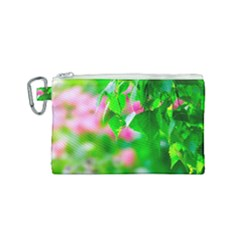 Green Birch Leaves, Pink Flowers Canvas Cosmetic Bag (small) by FunnyCow