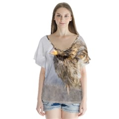 Funny Wet Sparrow Bird V Neck Flutter Sleeve Top by FunnyCow