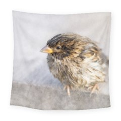 Funny Wet Sparrow Bird Square Tapestry (large)