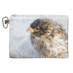 Funny Wet Sparrow Bird Canvas Cosmetic Bag (xl) by FunnyCow