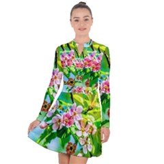 Crab Apple Flowers Long Sleeve Panel Dress by FunnyCow