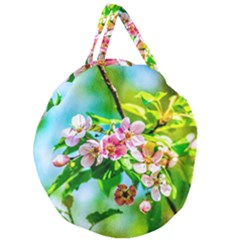 Crab Apple Flowers Giant Round Zipper Tote by FunnyCow