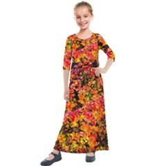 Orange, Yellow Cotoneaster Leaves In Autumn Kids  Quarter Sleeve Maxi Dress
