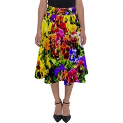 Viola Tricolor Flowers Perfect Length Midi Skirt by FunnyCow