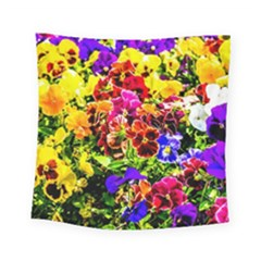 Viola Tricolor Flowers Square Tapestry (small) by FunnyCow