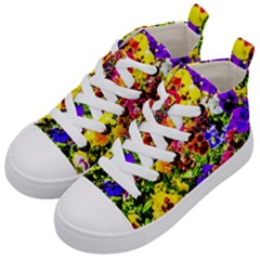 Viola Tricolor Flowers Kid s Mid Top Canvas Sneakers by FunnyCow