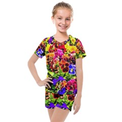 Viola Tricolor Flowers Kids  Mesh Tee And Shorts Set