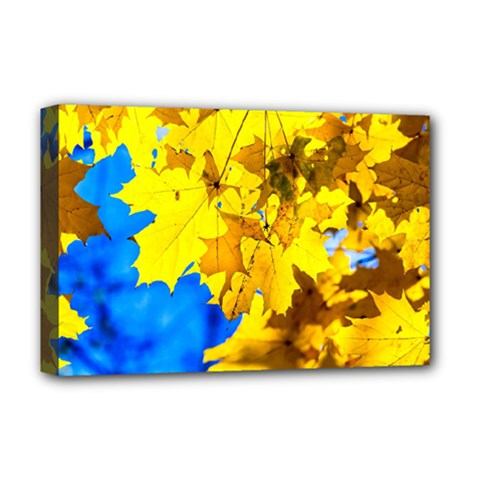 Yellow Maple Leaves Deluxe Canvas 18  X 12   by FunnyCow