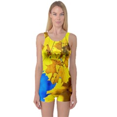 Yellow Maple Leaves One Piece Boyleg Swimsuit by FunnyCow
