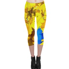 Yellow Maple Leaves Capri Leggings