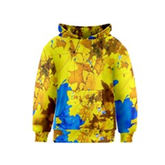 Yellow Maple Leaves Kids  Pullover Hoodie by FunnyCow