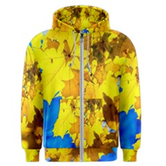 Yellow Maple Leaves Men s Zipper Hoodie by FunnyCow