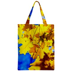 Yellow Maple Leaves Zipper Classic Tote Bag by FunnyCow