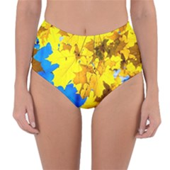 Yellow Maple Leaves Reversible High Waist Bikini Bottoms by FunnyCow