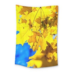 Yellow Maple Leaves Small Tapestry by FunnyCow