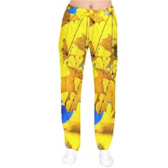 Yellow Maple Leaves Velvet Drawstring Pants by FunnyCow