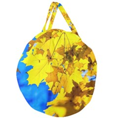 Yellow Maple Leaves Giant Round Zipper Tote by FunnyCow
