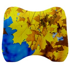 Yellow Maple Leaves Velour Head Support Cushion by FunnyCow