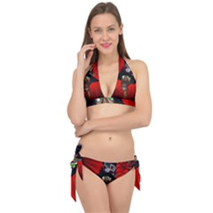 Funny, Cute Giraffe With Cool Hat Tie It Up Bikini Set