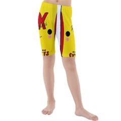 Kawaii Cute Tennants Lager Can Kids  Mid Length Swim Shorts by CuteKawaii1982