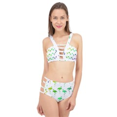 Rainbow Flamingos Pattern Cage Up Bikini Set by CrypticFragmentsColors