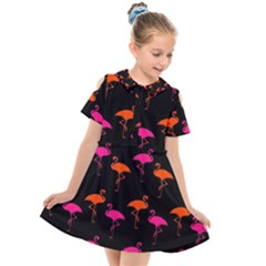 Flamingos Tropical Sunset Colors Flamingo Kids  Short Sleeve Shirt Dress