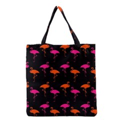 Flamingos Tropical Sunset Colors Flamingo Grocery Tote Bag by CrypticFragmentsColors