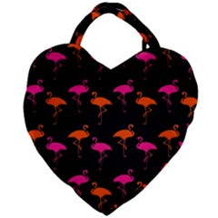 Flamingos Tropical Sunset Colors Flamingo Giant Heart Shaped Tote by CrypticFragmentsColors