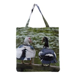 Muscovy Ducks At The Pond Grocery Tote Bag by IIPhotographyAndDesigns