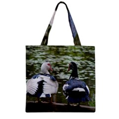 Muscovy Ducks At The Pond Zipper Grocery Tote Bag by IIPhotographyAndDesigns