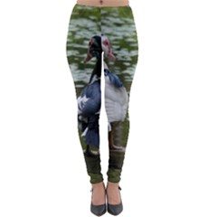 Muscovy Ducks At The Pond Lightweight Velour Leggings