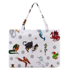 Dundgeon And Dragons Dice And Creatures Zipper Medium Tote Bag by IIPhotographyAndDesigns