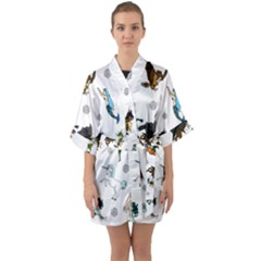 Dundgeon And Dragons Dice And Creatures Quarter Sleeve Kimono Robe
