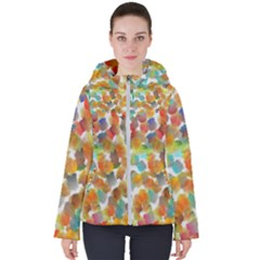 Colorful Paint Brushes On A White Background                                       Women s Hooded Puffer Jacket