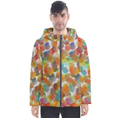 Colorful Paint Brushes On A White Background                                        Men s Hooded Puffer Jacket by LalyLauraFLM