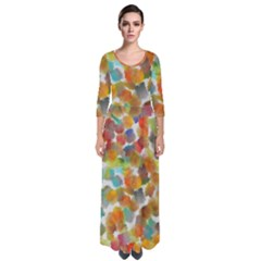 Colorful Paint Brushes On A White Background                                          Quarter Sleeve Maxi Dress