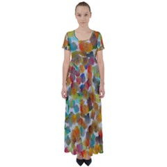 Colorful Paint Brushes On A White Background                                  High Waist Short Sleeve Maxi Dress